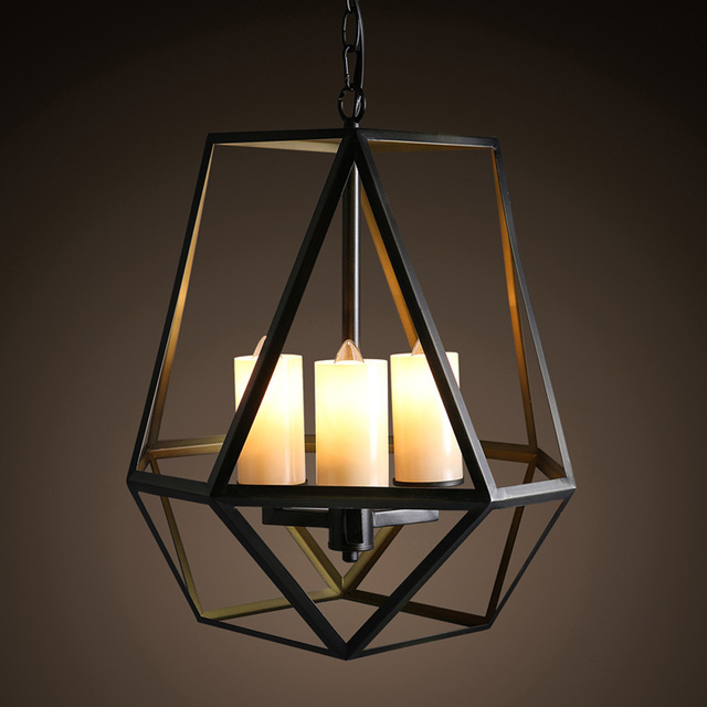 Vintage 3 Lights Loft Iron Art Candle Style Pendant Lights Indoor ...