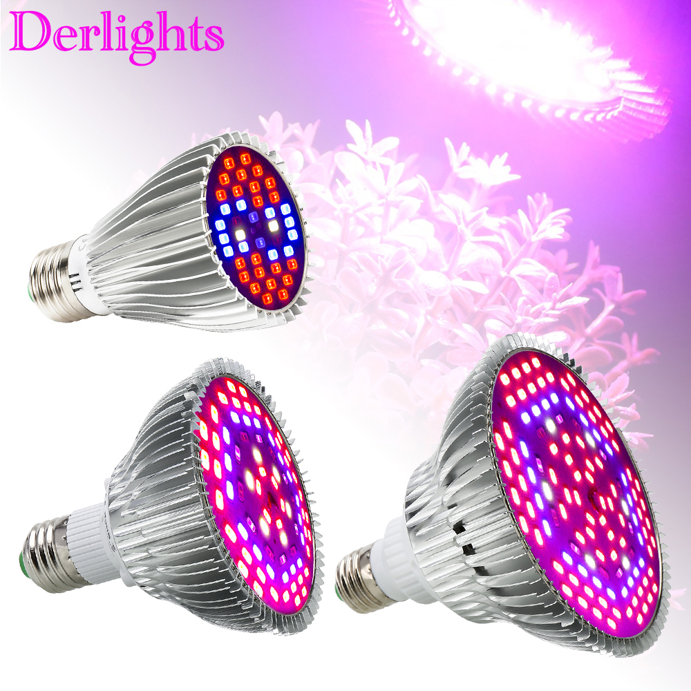 30W/50W/80W Led Grow Light Full Spectrum UV+IR E27 Grow Light For Flowering Plant and Hydroponics System LED  Lamp AC85~265V