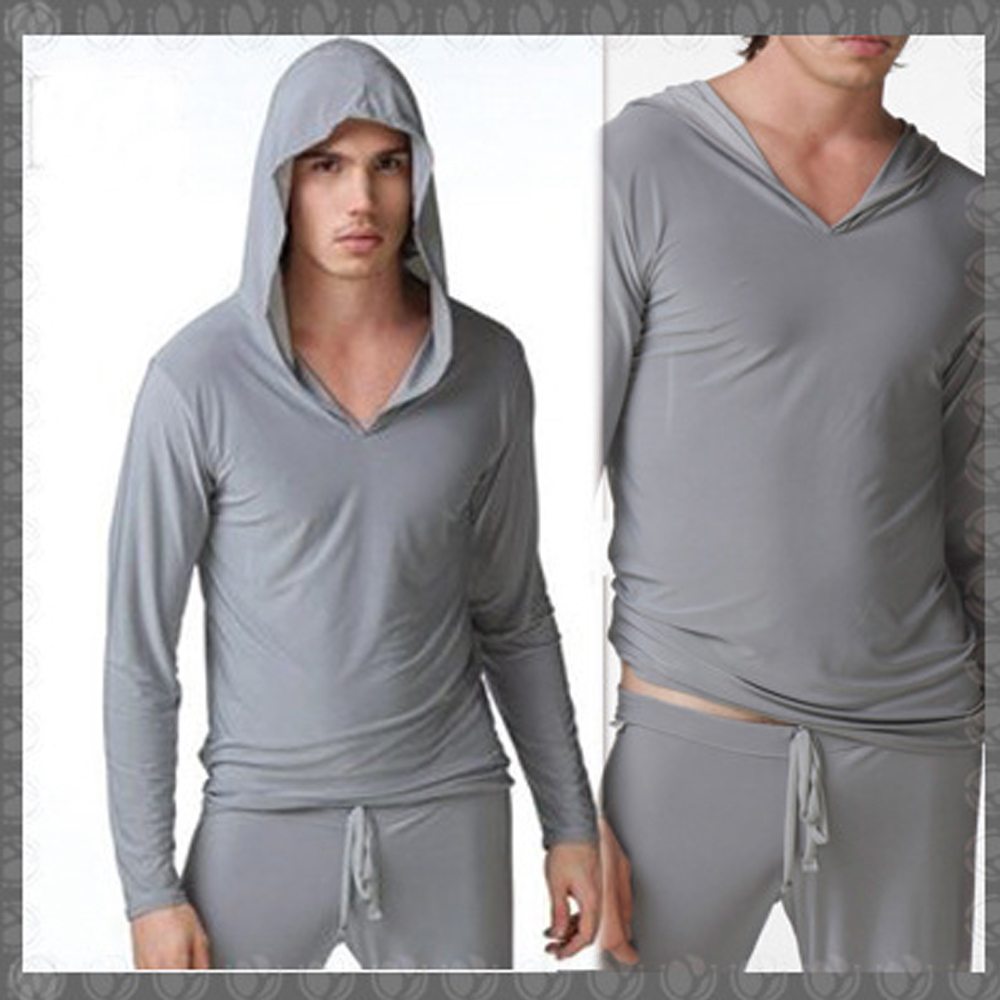 Sexy Men Ice Silk Smooth Breathable Pajamas Sleepwear Male Robe Masculino Shirt Casual Wear Hooded Silk Polyester Y oga Gay Wear