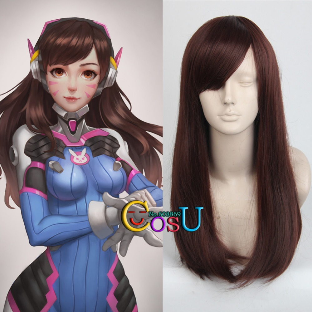 overwatch dva long straight red brown cosplay wigs costume halloween hair in synthetic wigs from hair extensions wigs on aliexpresscom alibaba group - Red Wigs For Halloween