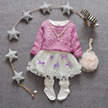 Two Sets Baby Girl Cotton Knitted Long Pullovers Fashion Knee-length Girls Dresses Suit Causal Autumn Girls Clothes