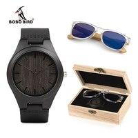 BOBO BIRD Wood Timepieces Sunglasses Personality Gifts Men Watch Custom logo Luxury Present relogio masculino