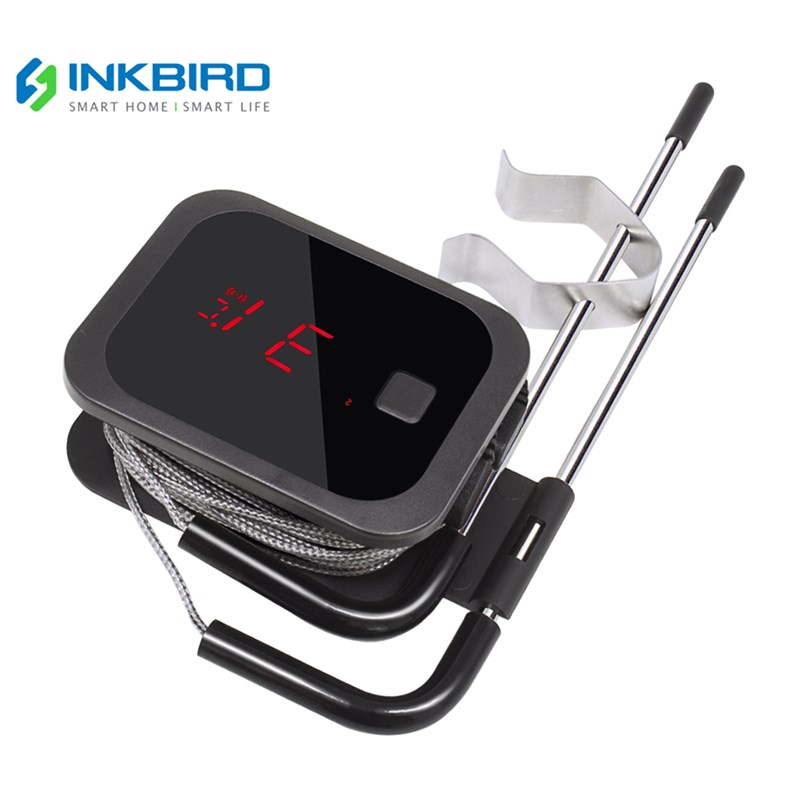 Inkbird Digital Cooking Bluetooth Wireless Grill Meat Oven BBQ Food Thermometer C/F with 2 Stainless Steel Probes and free App