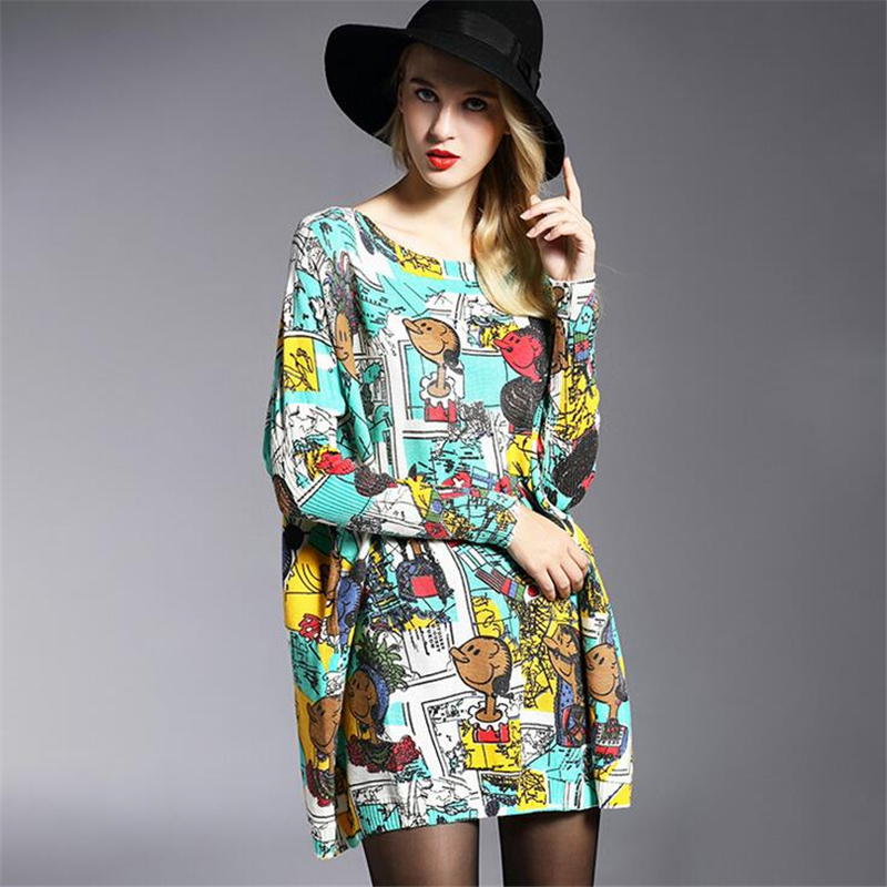Hot Sales Brand Womens Sweaters Pullover Lady Spring Autumn Sweater Clothing Oversize Cartoon printing Tops Sexy Loose Costume