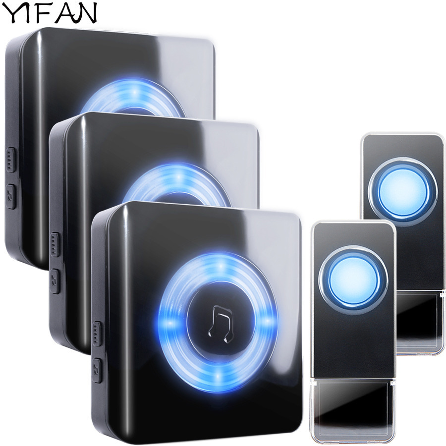 YIFAN Waterproof LED light Wireless Door bell EU Plug 300M long range home DoorBell Chim ...