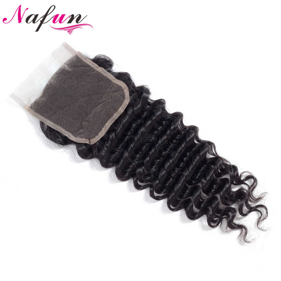 """NAFUN волосы перуанские глубокие синтетические волосы волнистые с волосами младенца 4*4 """"человеческие волосы Кружева Закрытие не Реми волосы Средний/Свободный/три части закрытие"""