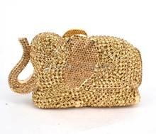 Candy Mode strass elefanten kupplung taschen goldenen Tier abend kristall stein taschen Frauen Party Handtasche tag Kupplungen 88600-B
