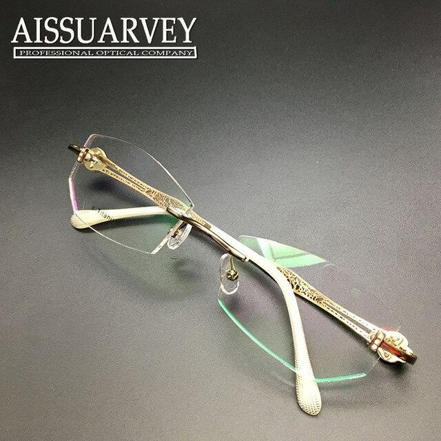 9609191f9d92 Rimless eyeglasses frame women glasses frame elegant optical prescription  titanium diamond rhinestone hollow brand designer