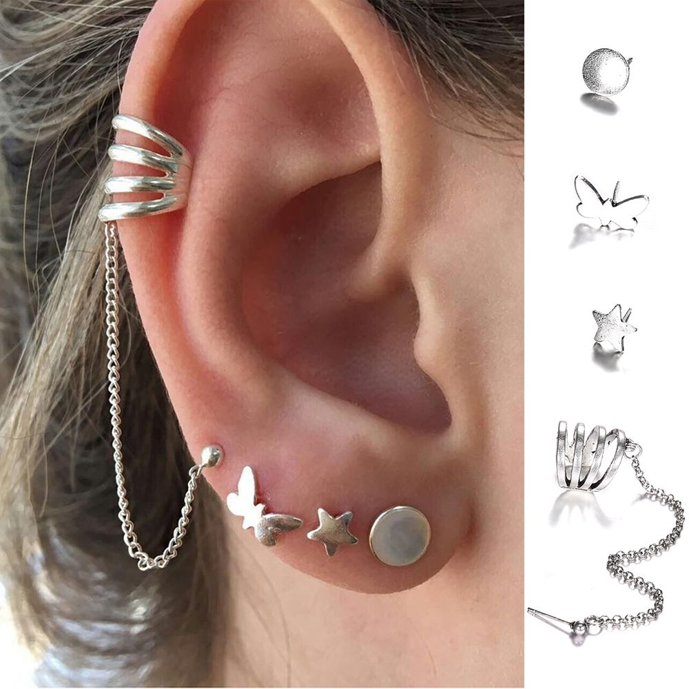 5f0a7a90dc413 US $0.81 15% OFF 4PCS/SET Multicolor Woman Man Punk Geometric Ear Stud Cuff  Set Round Vintage Bohemia Star Stud Earrings Set Party Jewelry Gift-in ...