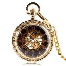 Античный Стиль Золото Открыть Лицо Римские Цифры Механическая Рука Обмотки Карманные Часы Мода Роскошные Мужчины Стильный Кулон Цепочка Подарок