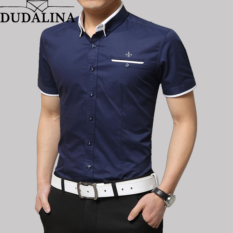 Dudalina 2019 New Arrival Brand Men's Summer Business Shirt Short Sleeves Turn-down Collar Tuxedo Shirt Shirt Men Shirts