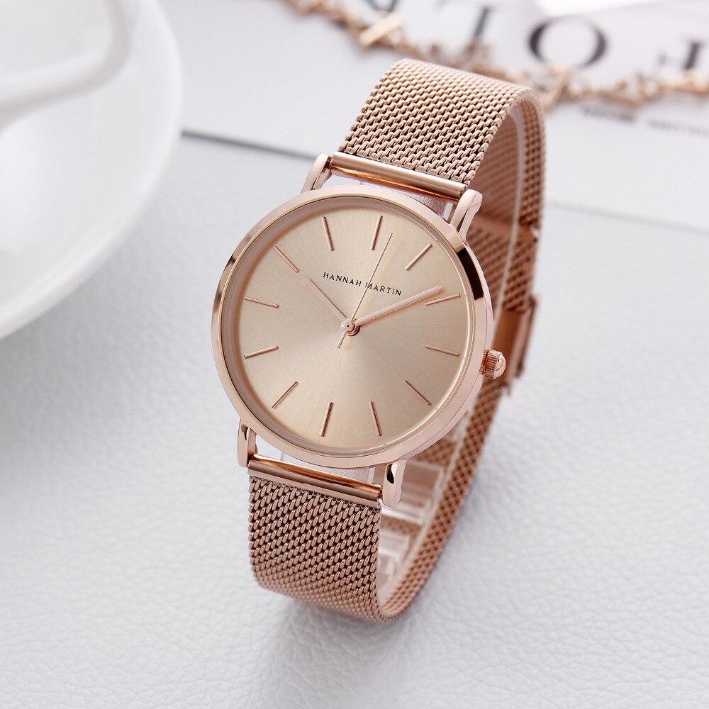 Hannah Martin Luxury Japan Quartz Rose Gold Women Watches Mesh Stainless Steel Watch Fashion Ladies Wristwatches Bayan Kol Saati
