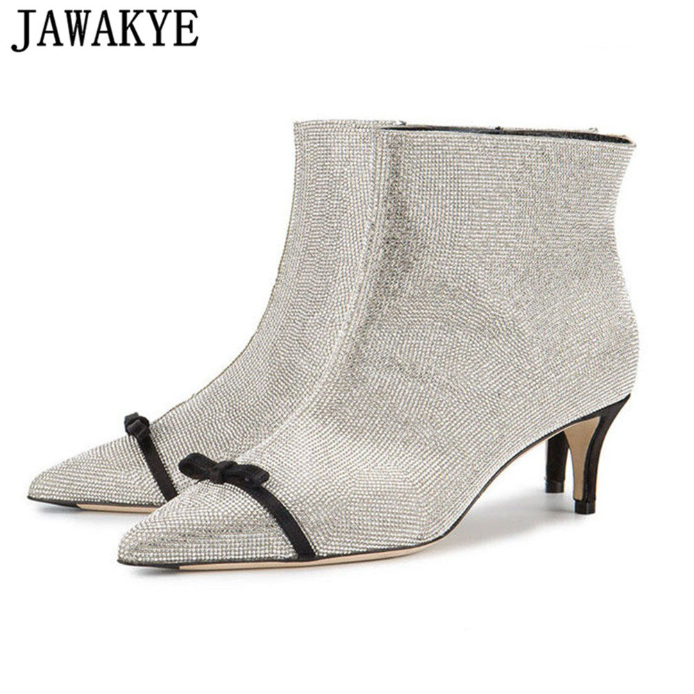 JAWAKY 2018 Fall Bling bling crystal kitten Heel Ankle Boots for women rhinestone bowtie decor Short boots shiny winter shoes JAWAKY 2018 Fall Bling bling crystal kitten Heel Ankle Boots for women rhinestone bowtie decor Short boots shiny winter shoes