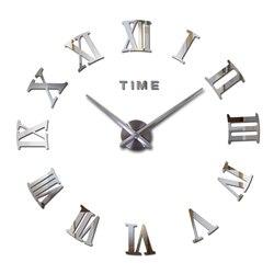 Pegatinas de pared de estilo moderno diy digital para balcón/Patio, decoración del hogar, efecto espejo, reloj grande de cuarzo, reloj de pared