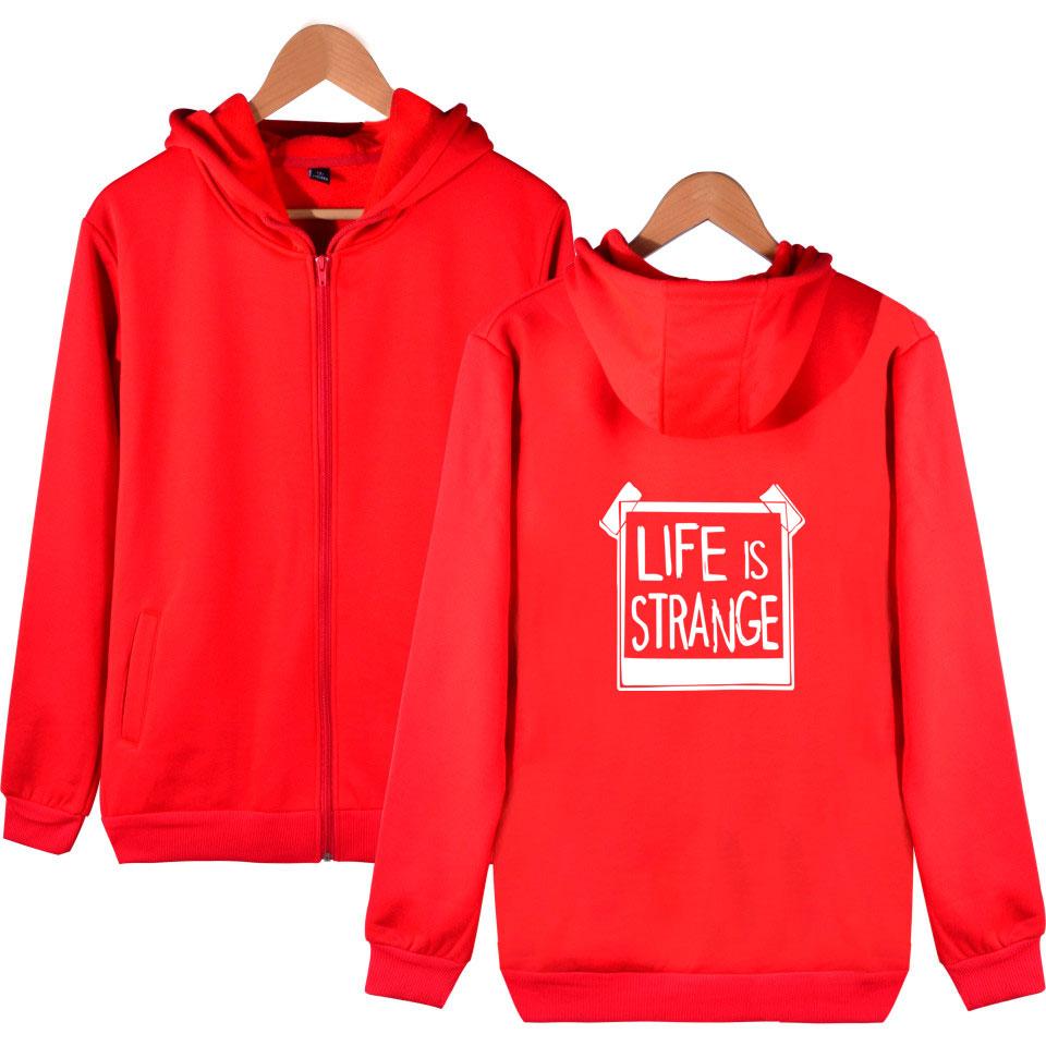 Life is Strang Autumn Women Zip Hoodie Black Sport Harajuku Hoodie Slim Classic High Quality Hoodie Life is Strang