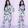 2016 Autumn Two 2 Piece Set Women Clothes Tracksuits Woman Long Sleeve Flower Print Zipper Sweatshirts chandal mujer complete