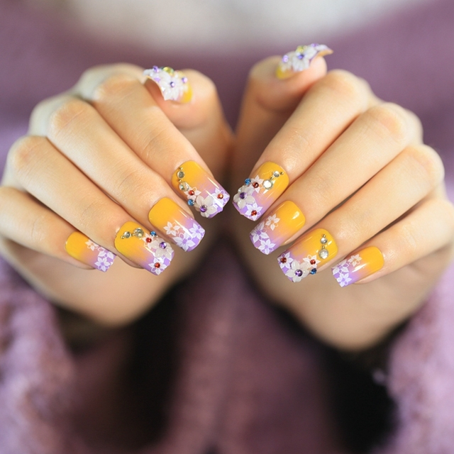 Artificial Flat Fake Nails Orange Gradient Purple Small Stones False ...