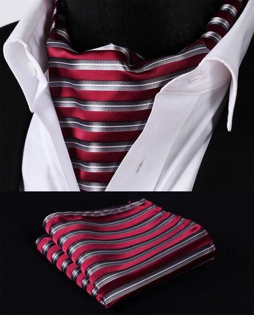Rs201r красный серый полосой шелковый галстук тканые Ascot галстук карманный площадь платок костюм комплект