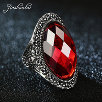 JIASHUNTAI Retro 100% 925 Sterling Silver Big Rings For Women Vintage Natural Stone Jewelry Female Best Gifts