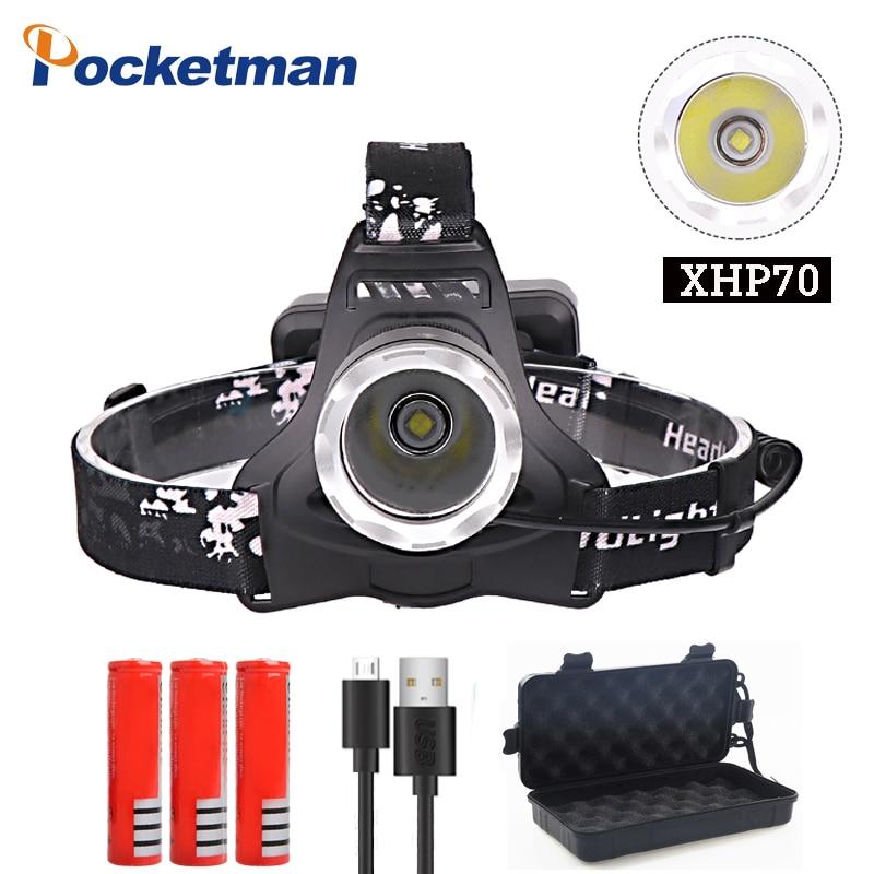 Pocketman 7000lm xhp70 faro luminoso eccellente ha condotto il faro usb di ricarica Lampada Frontale xhp70 lanterna 3*18650 batteria di campeggio di caccia