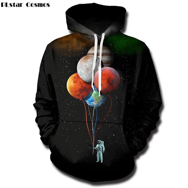 PLstar Cosmos 3D Felpe con cappuccio Uomini Spazio Astronauta Pianeta Palloncino 3D Stampa Moda Creativa Pullover Top Tute
