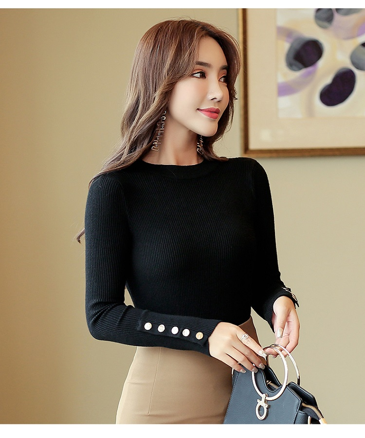 Fashion 19 New Spring Autumn Women Sweater Knitted Long Sleeve O-Neck Sexy Slim Office Lady Button Casual Sweaters Tops 19
