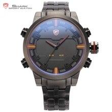 Sawback ангел shark спортивные часы dual time цифровой светодиодный дата день Аналоговый Черный Красный Браслет Из Нержавеющей Стали Мужские Кварцевые Часы/SH197