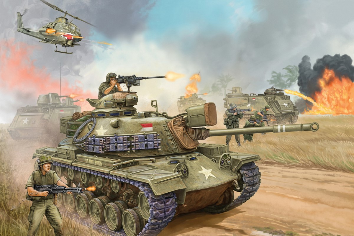 M48a3 Patton Medium Tank United States Gun M41 Vietnam