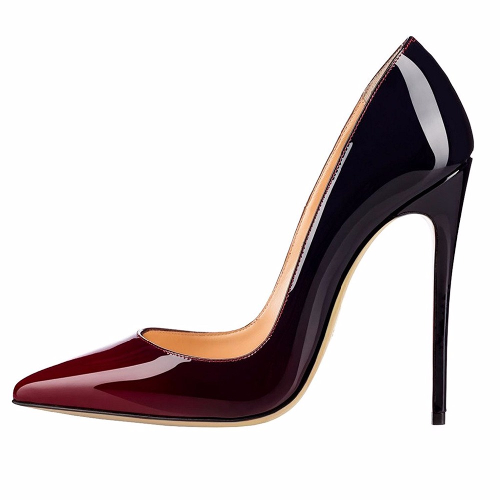 Women High Heel Pumps 2019 Kate Shoes Extremly High Heels Black Nude Patent Basic Women Court Shoes Mirror Leather Stilettos in Women 39 s Pumps from Shoes
