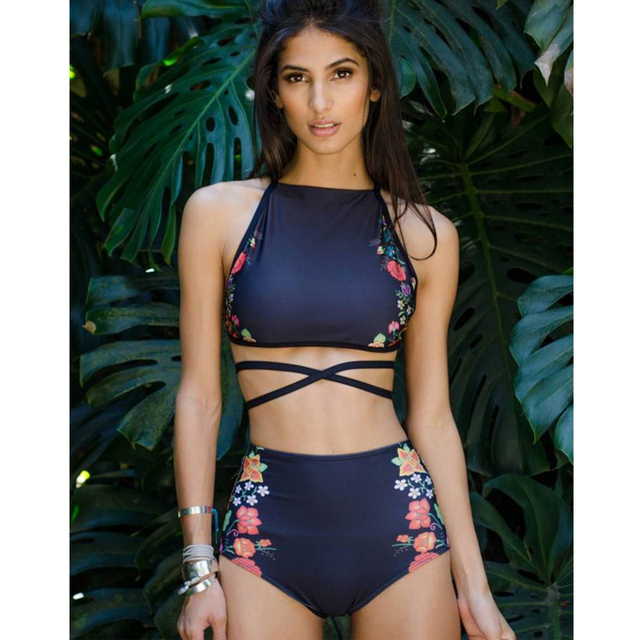 0d769ccabff XAXBXC 2018 Summer Flower Strapless Bandage High Waist Two Piece Padded  Sexy Bikini Set Swimsuit Swimwear Women Bathing Suit