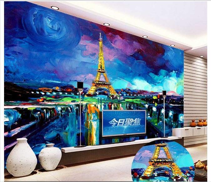 Customized 3d wallpaper 3d wall murals Night view of Paris hand