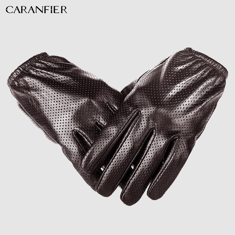 2bd809d8e5312 CARANFIER Genuine Leather Gloves Mens Winter Touch screen Sheepskin Male  Glove Breathable Mesh Driving Car Short Thin Men Gloves-in Men s Gloves from  ...