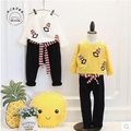 Korean children 2017 new spring children's fashion sweater + smile trendy baggy pants suit two free shipping