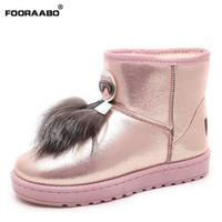 Fooraabo 2017 Fashion Korean Sexy Women Boots Flat Winter Snow Boots Black Pink Ankle Boots For
