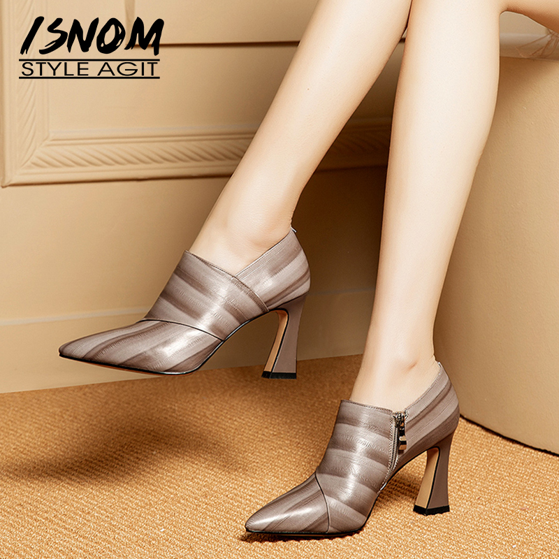 ISNOM Cow Leather Pumps Women Pointed Toe Footwear Fashion Zip Shoes Female High Heels Shoes Woman