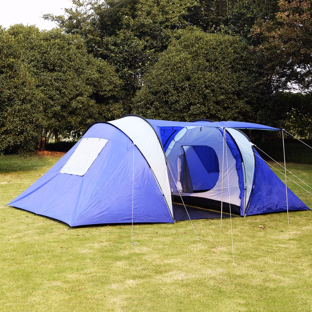 GOPLUS 6 8 Person Man Waterproof Camp 2 1 Room Hiking Camping Tunnel Family Tent OP2494 In Awnings From Home Garden On Aliexpress