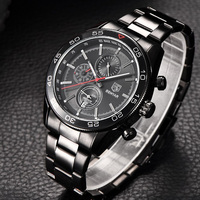 BENYAR Black Stainless Steel Brand Luxury Date Waterproof Quartz Watch Men Sport Watches Male Wristwatch Clock relogio masculino