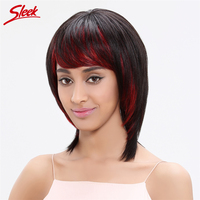 Sleek Straight Human Hair Wigs With Wig Cap Red Bang 100 Brazilian Virgin Hair 13 Inch