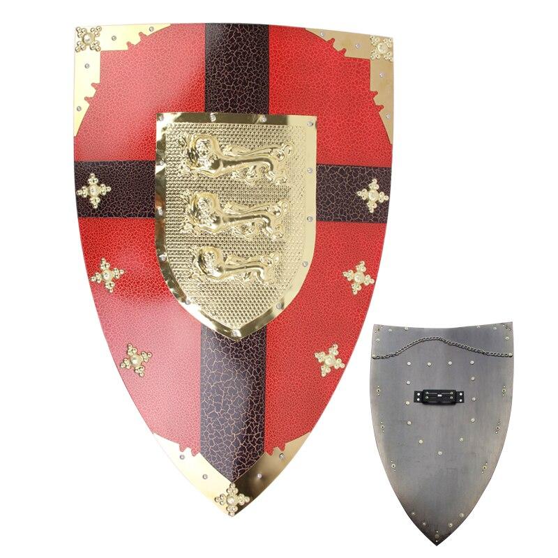 Для Ричард Лев тепла средневековой rnight щит висит Украшения реального Сталь красный покрытие Рождество Дисплей