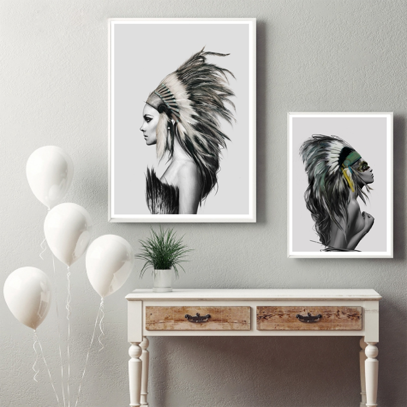 Native American Girl Wall Art Canvas Prints Poster Home Living Rhaliexpress: Native American Paintings For Living Room At Home Improvement Advice