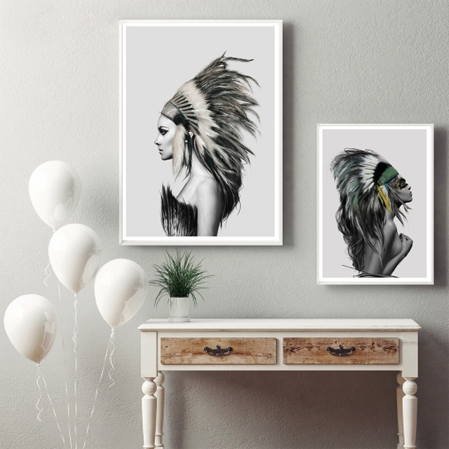 Native American Girl Wall Art Canvas Prints Poster Home Living Room Indian Women Painting