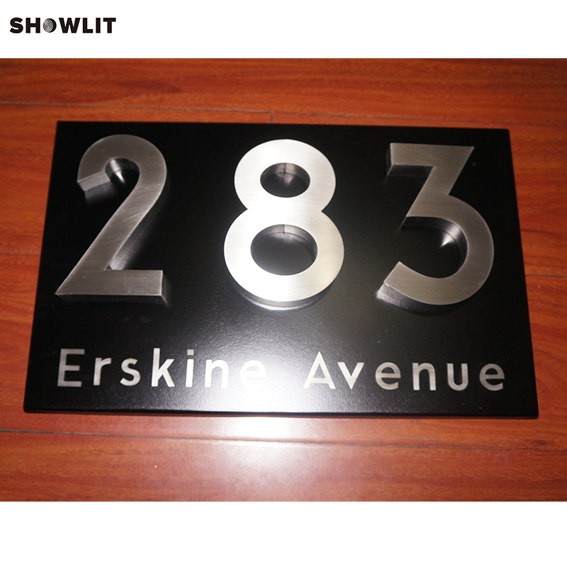 Wall Mounted Brushed Metal Address Letters Custom Made stainless steel metal address plaques letters and numbers custom available