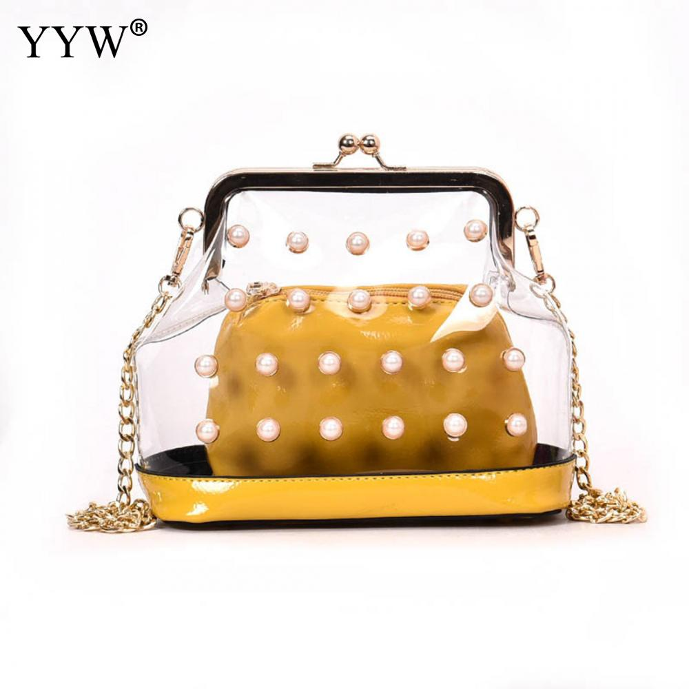 Pu Leather Women Hand Bags Fashion Pearl Fastener Evening Bag Female Handbags New Transparent Shoulder Bag Small Square Shape