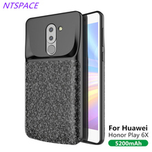 Backup Battery Case 5200mAh Portable Power Bank Charger Cover For Huawei Honor Play 6X Extended Phone Battery Power Case 4700mah extended phone battery power case for huawei honor 8 lite backup power bank honor 8 lite portable battery charger case