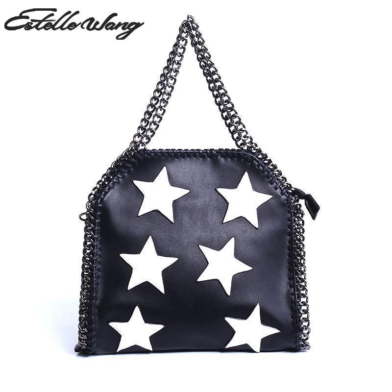 138a32c62e3 2016 Women Three Chain Portable Handbags Pu Leather Shoulder Bags With Star  Design High Quality Stella Cross Body Bag