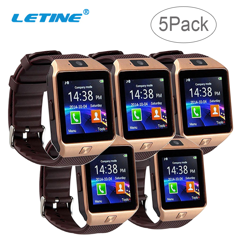 LETINE 5Pcak DZ09 DZ 09 Touch Smart Watch Phone Electronic Wrist Watches Support Andriod GSM SIM Card Russian French PK A1 <font><b>GT</b></font> 08 image