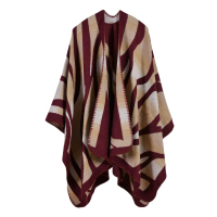Charming Winter Scarves Cashmere Feel Scarf Women Poncho Cape Fashion Striped Design