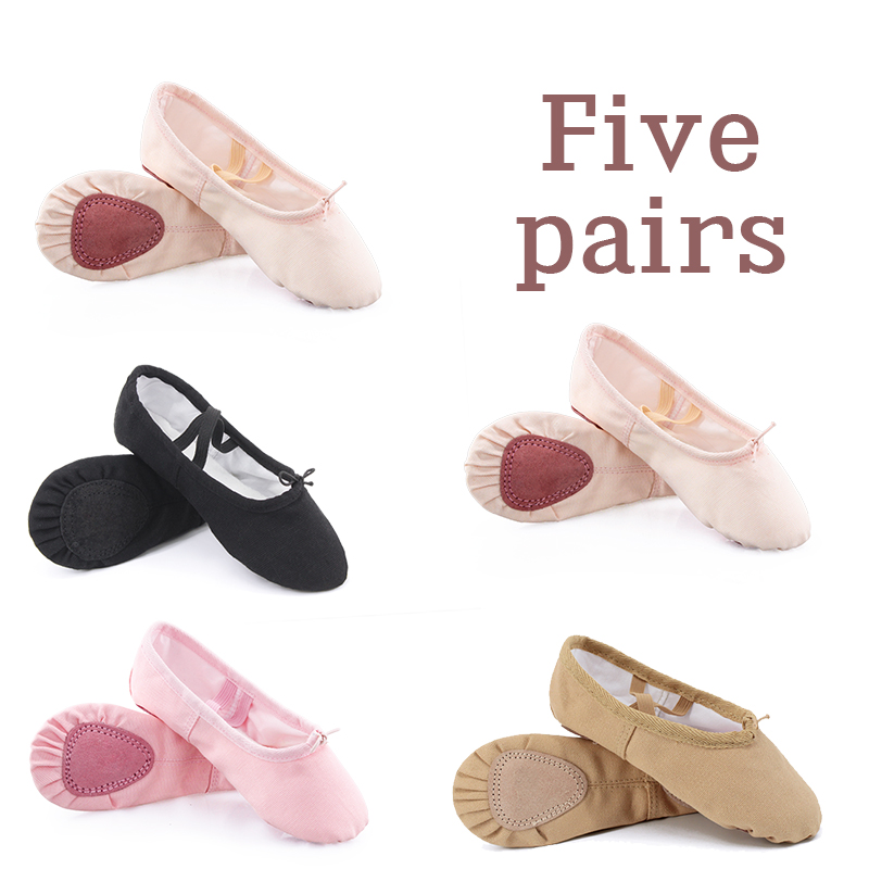 Wholesale 5 Pairs Girls Ballet Dance Shoes Full Cotton Canvas Split Soft Sole Pink Black Ballet Shoes For Kids