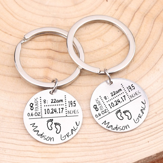 Baby Birth State Keychain Gift For First Fathers day New Mommy Gift Newborn Baby Key Pendant Women Men Key Accessories 3 Colors 3