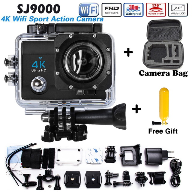 Hot Sale hero 4 style Ultra HD WIFI Sport Action Camera 4K30FPS 1080P 2.0 Inch Waterproof Camera Add Camera bag + Buoyancy stick add camera bag and two battery sport action camera 1080p hd 12mp sj4000 wifi extre sports camara gopro hero 3 go pro 4 cam style